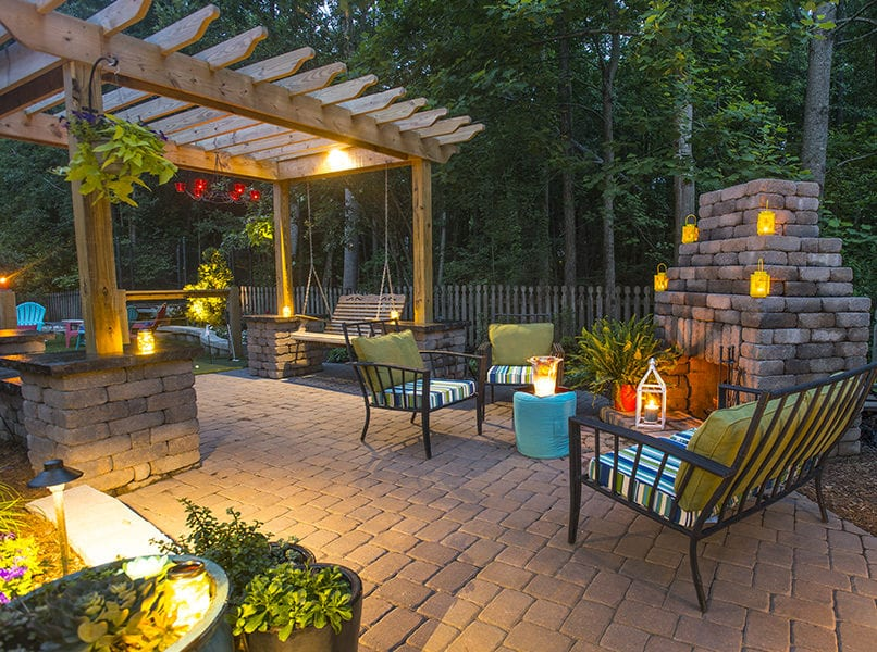 exterior lighting outdoor patio with fireplace