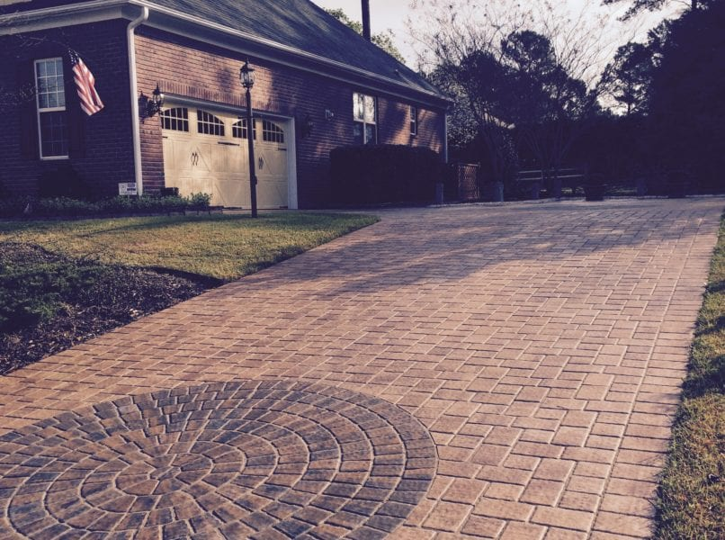 Custom paver driveway hardscape