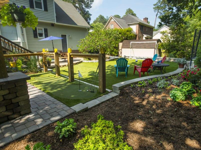 Landscape backyard with patio deck